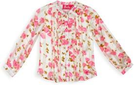 Barbie Girl's Floral Print Festive White, Pink Shirt