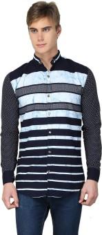 BRAVEZI Men's Striped, Self Design, Printed Casual, Party, Festive Blue, Light Blue Shirt