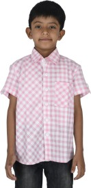 Twin Twine Boy's Checkered Casual Pink Shirt