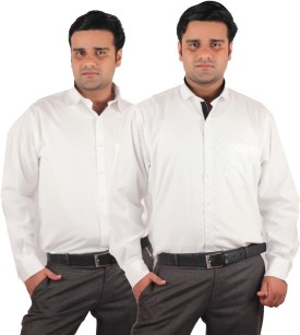 RIPARV Men's Solid, Printed Wedding, Casual, Party, Formal, Festive, Lounge Wear White Shirt Pack Of 2