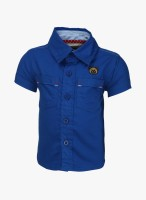 Baby League Baby Boy's Solid Casual Blue Shirt