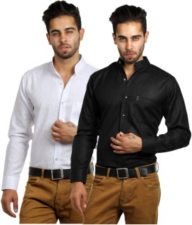 S9 MEN Men's Solid, Self Design Formal, Wedding, Party, Festive, Casual Shirt Pack Of 2