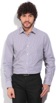 Peter England Men's Checkered Formal White, Blue, Yellow Shirt