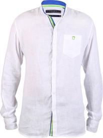 Hash Luxury Men's Solid Party Linen White Shirt