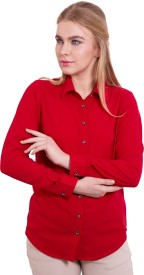 TightHugs Women's Solid Formal Red Shirt