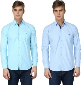 BRAVEZI Men's Solid Formal Light Blue, Light Blue Shirt Pack Of 2