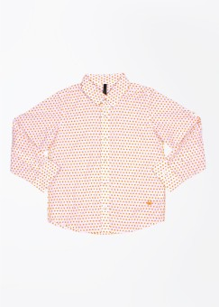 United Colors Of Benetton Boy's Polka Print Casual White, Orange Shirt
