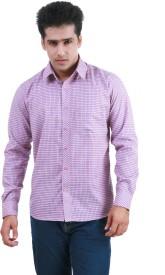 Frissk Men's Checkered Formal Pink, Blue Shirt