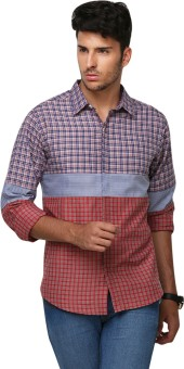 Yepme Men's Checkered Casual Blue, Red Shirt