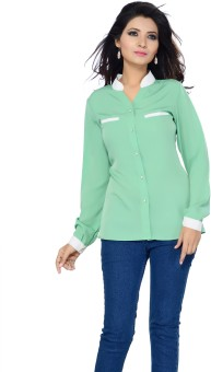 Ishin Green Women's Solid Party Shirt