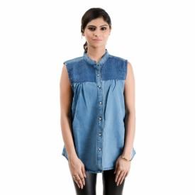 RIDDHI Women's Solid Casual Denim Light Blue Shirt