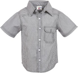 Crackles Boy's Striped Casual Black Shirt