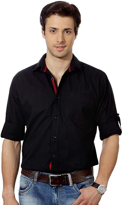 Top Notch Men 39 S Solid Casual Shirt Buy Jet Black Top