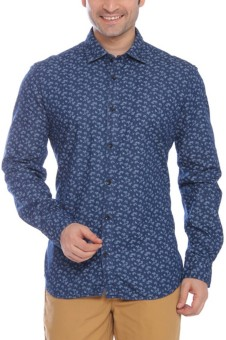 Parx Men's Printed Formal Blue Shirt