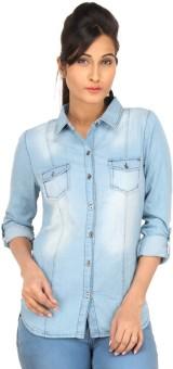Eimoie Girl's Solid Casual Blue Shirt