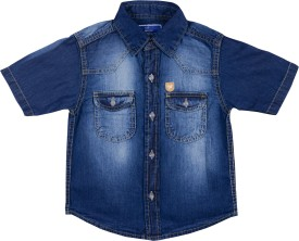 Addyvero Girl's Solid Party, Casual Dark Blue Shirt