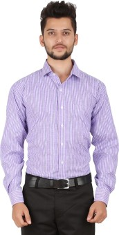 Stylo Shirt Men's Striped Formal Purple Shirt