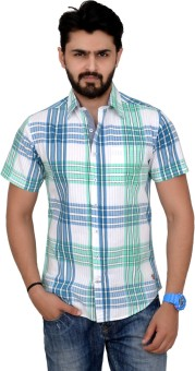 Rafters Men's Checkered Casual White, Light Green, Blue Shirt