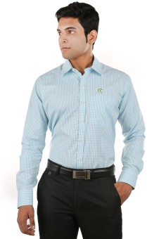Relish Men's Checkered Formal Light Green, Light Blue Shirt