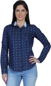 Fast N Fashion Gia Women's Printed Casual Denim Shirt
