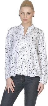 Aussehen AU5168 White Women's Printed Casual Shirt
