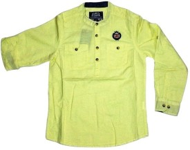 Bare Denim Boy's Solid Formal Yellow Shirt