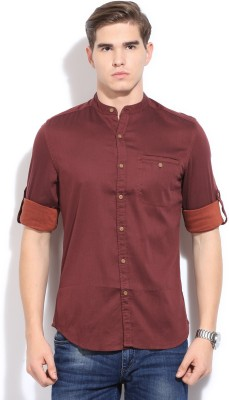Bossini BOSSINI Men's Solid Casual Shirt (Red)