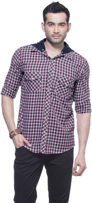 Zovi Regular Fit Magenta And White Flannel Shirt With Detachable Hood Men's Checkered Casual Shirt