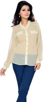 Ishin Beige Women's Solid Party Shirt
