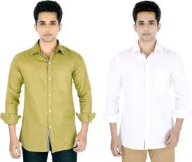 Yuva Men's Solid Casual Linen Beige, White Shirt