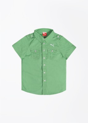 Puma Puma Boy's Solid Casual Shirt (Green)
