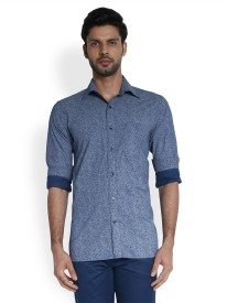 Raymond Men's Printed Formal Dark Blue Shirt