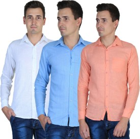 Uno Cotton Men's Solid Casual, Formal Shirt Pack Of 3