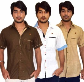 PP Shirts Men's Solid Casual Linen Multicolor Shirt Pack Of 3