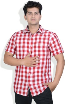 Speak Red & White Half Sleeves Men's Checkered Casual, Party Shirt