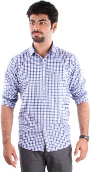 Indian Terrain Men's Checkered, Striped Formal Shirt