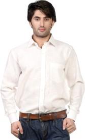 James Scot Men's Solid Formal Linen White Shirt
