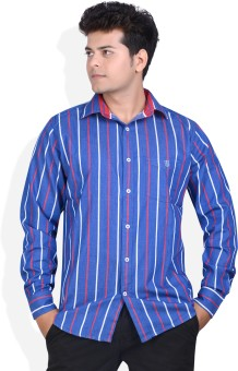 Speak Blue Oxford Cotton Men's Striped Casual, Party Shirt