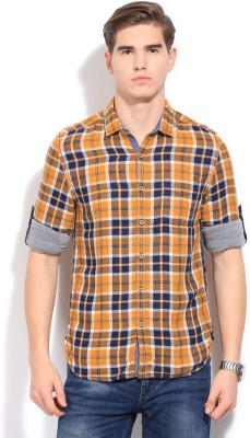 Bossini BOSSINI Men's Checkered Casual Shirt (Yellow)