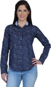 Fast N Fashion Kim Women's Printed Casual Denim Shirt