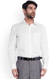 Park Avenue Men's Solid Formal Linen White Shirt