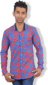 maclavaro Boy's Checkered Casual, Party Red Shirt