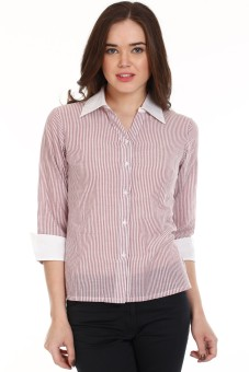 Mustard White And Brown Women's Striped Casual Shirt