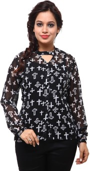 Fbbic Black White Printed Shirt Women's Printed Casual Shirt