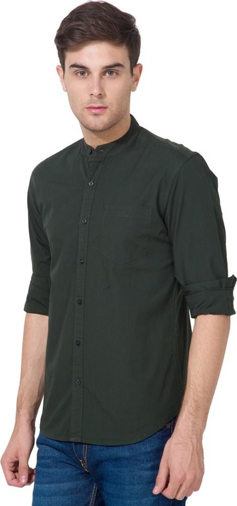 HIGHLANDER Men's Solid Casual Green Shirt