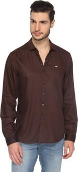 Lee Men's Solid Casual, Party Brown Shirt