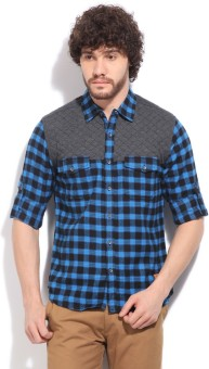 Status Quo Men's Checkered Casual Grey, Blue Shirt