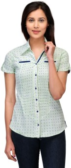 Fashion Cult Green Women's Printed Casual Shirt