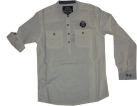 Bare Denim Boy's Solid Formal White Shirt