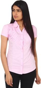 Gudluk Pink Women's Solid Casual Shirt